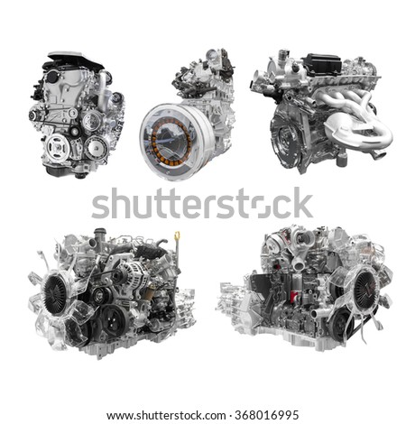 Collection of Powerful Car engine isolated on white background with clipping path - stock photo