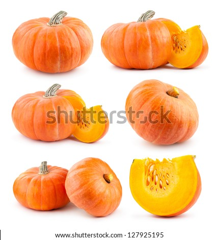 collection of pumpkin images - stock photo
