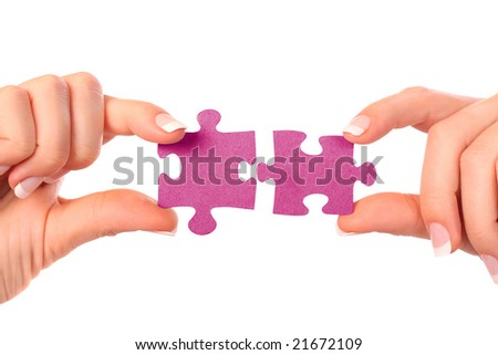 collection of puzzle pieces compositions on white background - stock photo
