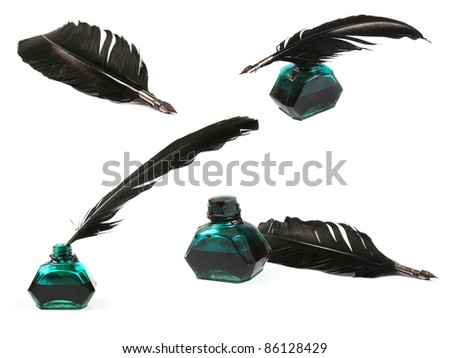 collection of quill pen - stock photo