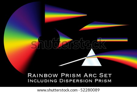 Collection of rainbow arcs including a dispersion prism illustration. Raster illustration.