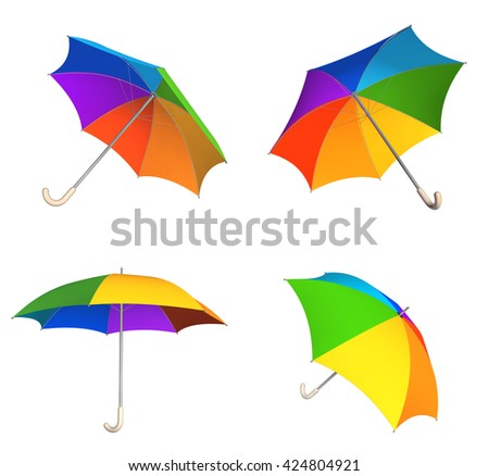 Collection of rainbow umbrellas. View from different angles. Objects isolated on white background. 3d render - stock photo