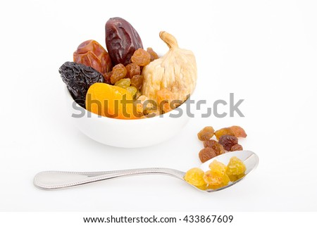 Collection of Ramadan dried fruits - Dates , Figs, Raisin, Qrasia; Apricots for breakfast in Ramadan - stock photo