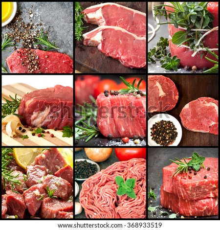 Collection of raw beef images.  Includes herbs and spices. - stock photo