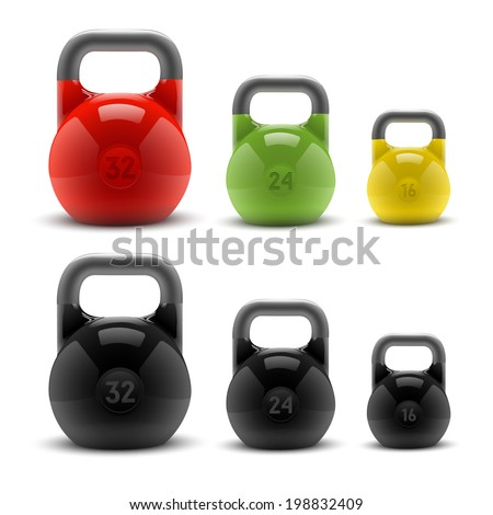 Collection of realistic classic kettlebells isolated on white background. Fitness symbol. Raster copy - stock photo