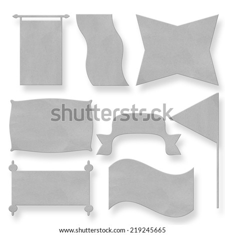 collection of recycle paper speech bubbles ribbons flag and some other useful things isolated on white background with clipping path