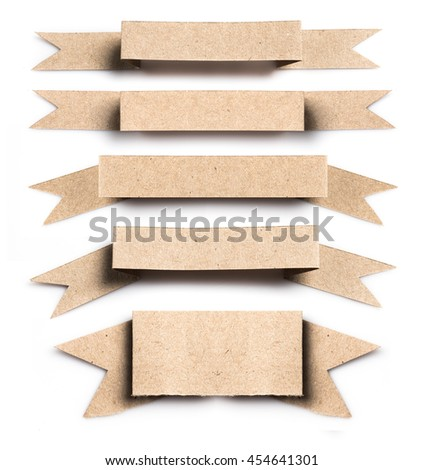 Collection of recycled paper as label banner on white background