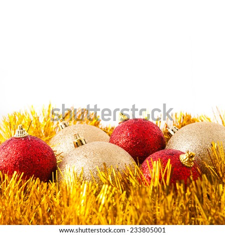 Collection of red and golden christmas balls, Isolated over white. - stock photo