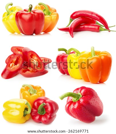 collection of red and yellow peppers isolated on the white background - stock photo