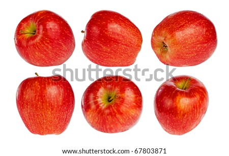 Collection of red apples isolated on white - stock photo