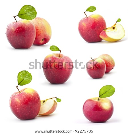Collection of red apples with leaf isolated on white background - stock photo