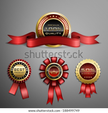 Collection of red award ribbons and golden medals - stock photo