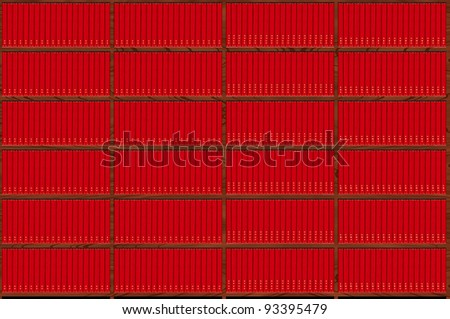 collection of red books - stock photo