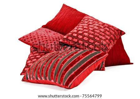 Collection of red cushions on white background - stock photo
