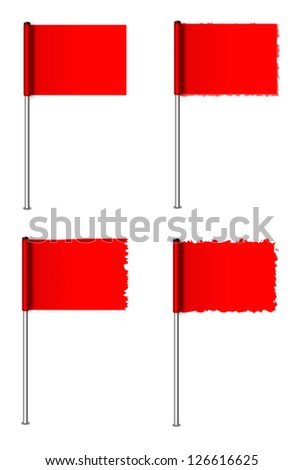 Collection of 4 red flags of different texture. - stock photo