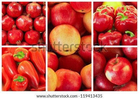 collection of red fruit and vagetable backgrounds, pomegranate, red apples, peppers, paprika - stock photo