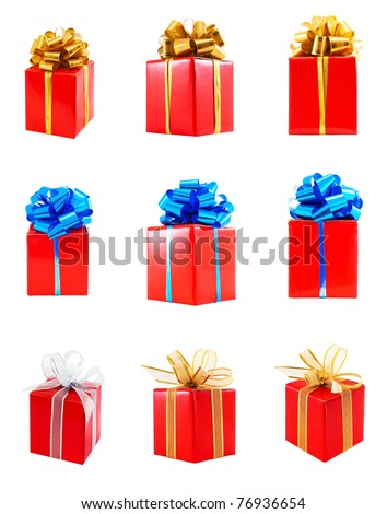 Collection of red gift wrapped presents with various ribbon bows, isolated on white background - stock photo