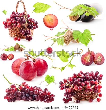 Collection of red grapes, bottle and cork, Isolated on white background - stock photo