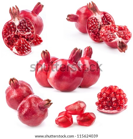 Collection of red pomegranate fruits isolated on white background - stock photo