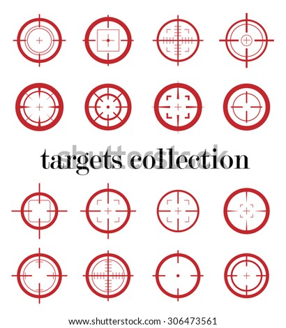Collection of red targets icons. Different crosshair icons. Aims templates. Shooting marks design.
