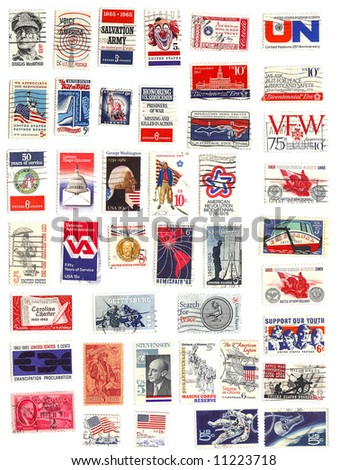 collection of red white and blue vintage american stamps - stock photo