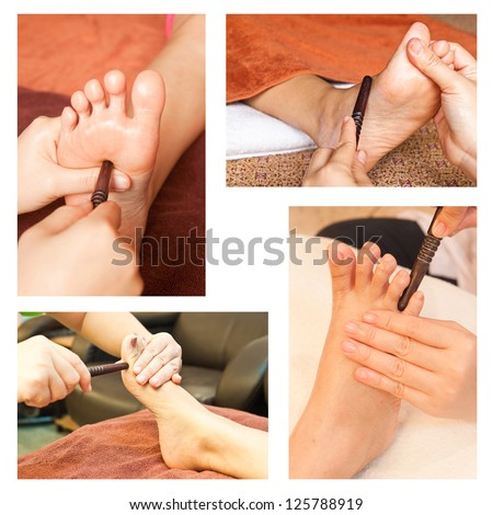 Collection of reflexology foot massage, spa foot treatment by wood stick - stock photo