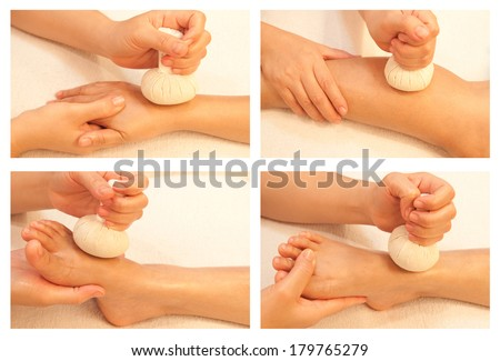 Collection of reflexology massage, spa treatment by ball herbal - stock photo