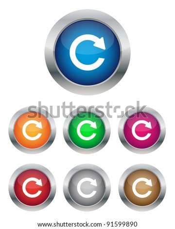 Collection of refresh buttons in various colors. Vector available.