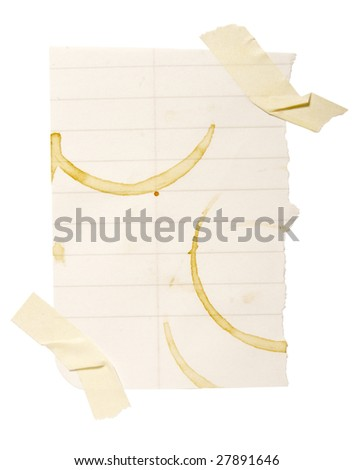 collection of reminders with coffee stain marks on white background . each one is in cameras full  resolution - stock photo