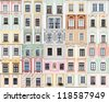 collection of Renaissance and Baroque windows from Telc, Czech Republic - UNESCO World Heritage Site - stock photo