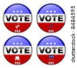 Collection of republican and democrat vote buttons - stock photo
