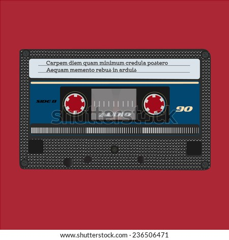 Collection of retro audio cassettes. Set of different colorful music tapes. Isolated on white background.  - stock photo