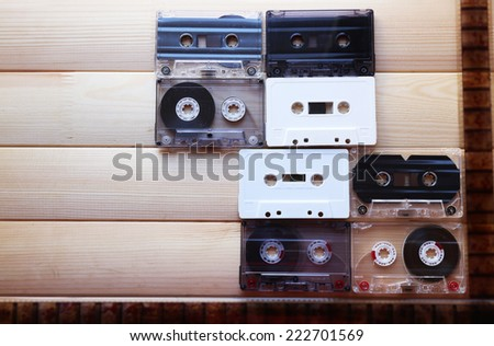 Collection of retro audio tapes, close up - stock photo