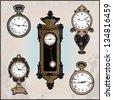 collection of retro clocks - stock vector