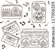 Collection of retro music elements, sketch style - stock photo