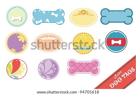 Collection of retro pet collar ID tags - stock photo