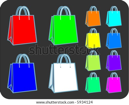 Collection of RGB spectrum shopping or gift bags - illustration