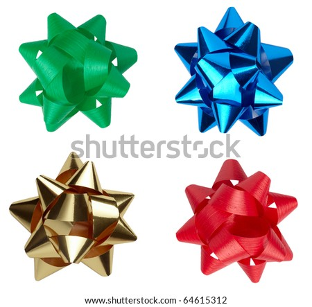 collection of  ribbon bow on white background. each one is shot separately - stock photo