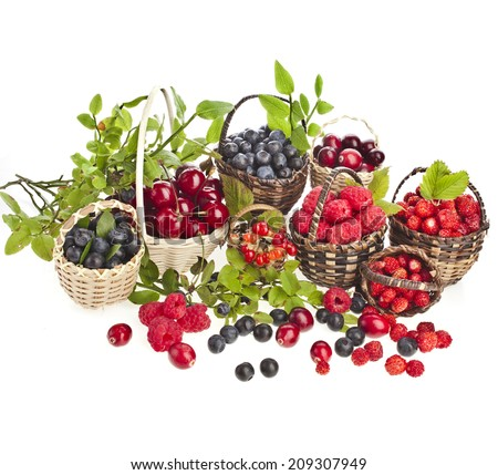 Collection of ripe wild berries mix in the basket isolated on white background - stock photo