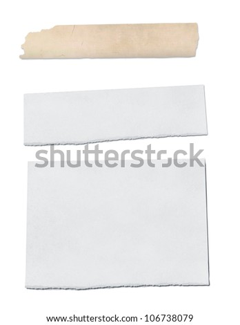 collection of ripped pieces of paper - stock photo