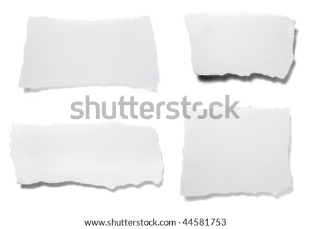 collection of ripped white paper notes on white background. each one is in full camera resolution - stock photo