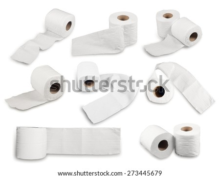 collection of Roll of Toilet Paper Isolated on White Background - stock photo