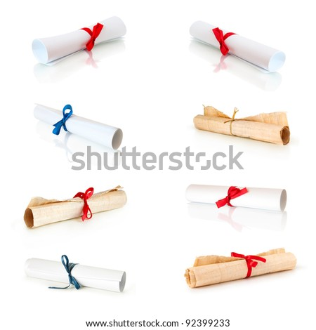 collection of rolls white paper and papirus with ribbons isolated on white - stock photo