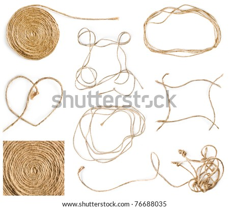 Collection of rope frame element on white background - stock photo
