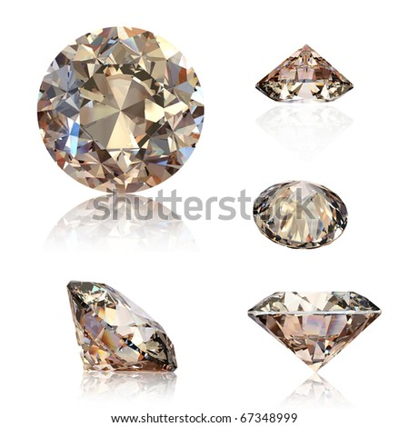 Collection of round cognac diamond isolated on white background. Gemstone - stock photo