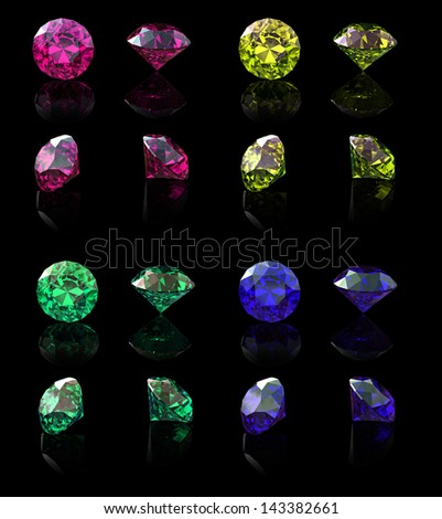 Collection of  Round jewelry gems isolated on black background. Gemstone
