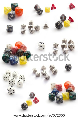 Collection  of RPG dices isolated on white - stock photo