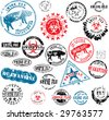 Collection of rubber stamps about swine flu. See other rubber stamp collections in my portfolio. - stock photo