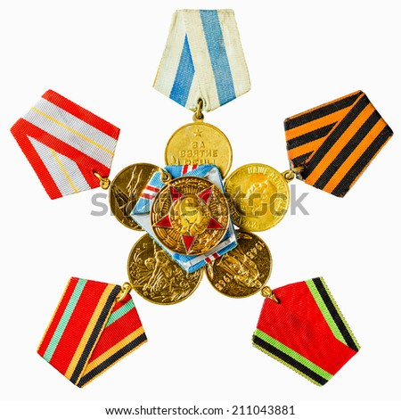 Collection of Russian (Soviet) Medals For Participation In The Second World War Isolated White Background - stock photo