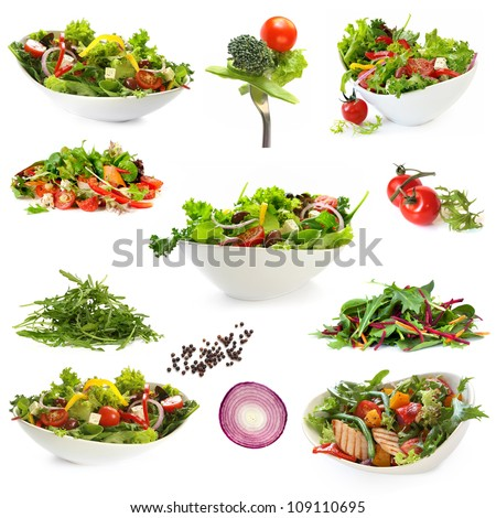 Collection of salads, isolated on white.  Includes green salad, garden salad, greek salad, chicken salad, and ingredients. - stock photo